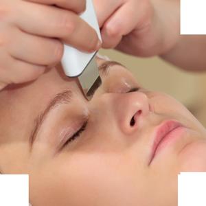 higiene facial con espátula de ultrasonidos